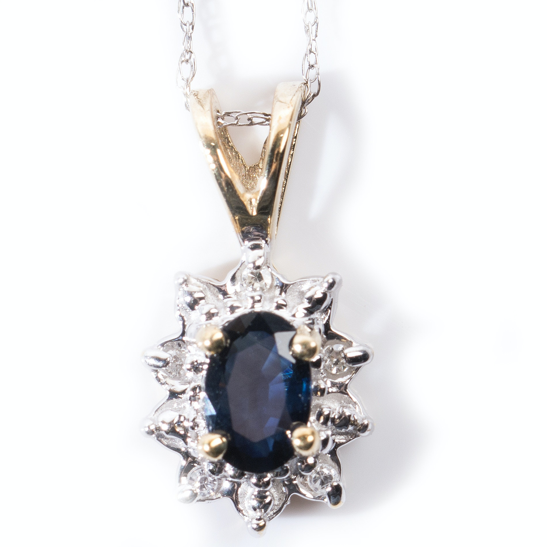 14K White and 10K Yellow Gold Sapphire and Diamond Pendant Necklace