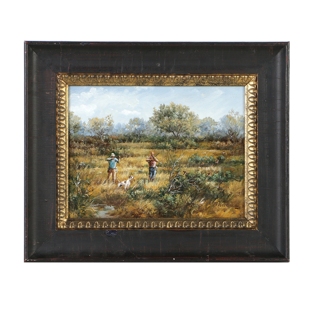 B. Catin Oil Painting on Canvas Hunting Scene