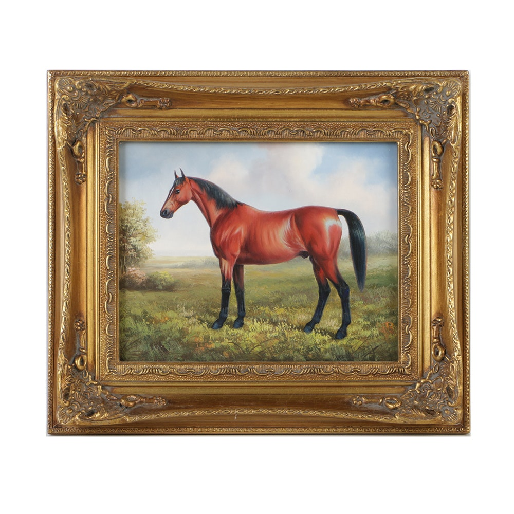 Miniature Oil Painting on Panel Portrait of a Horse