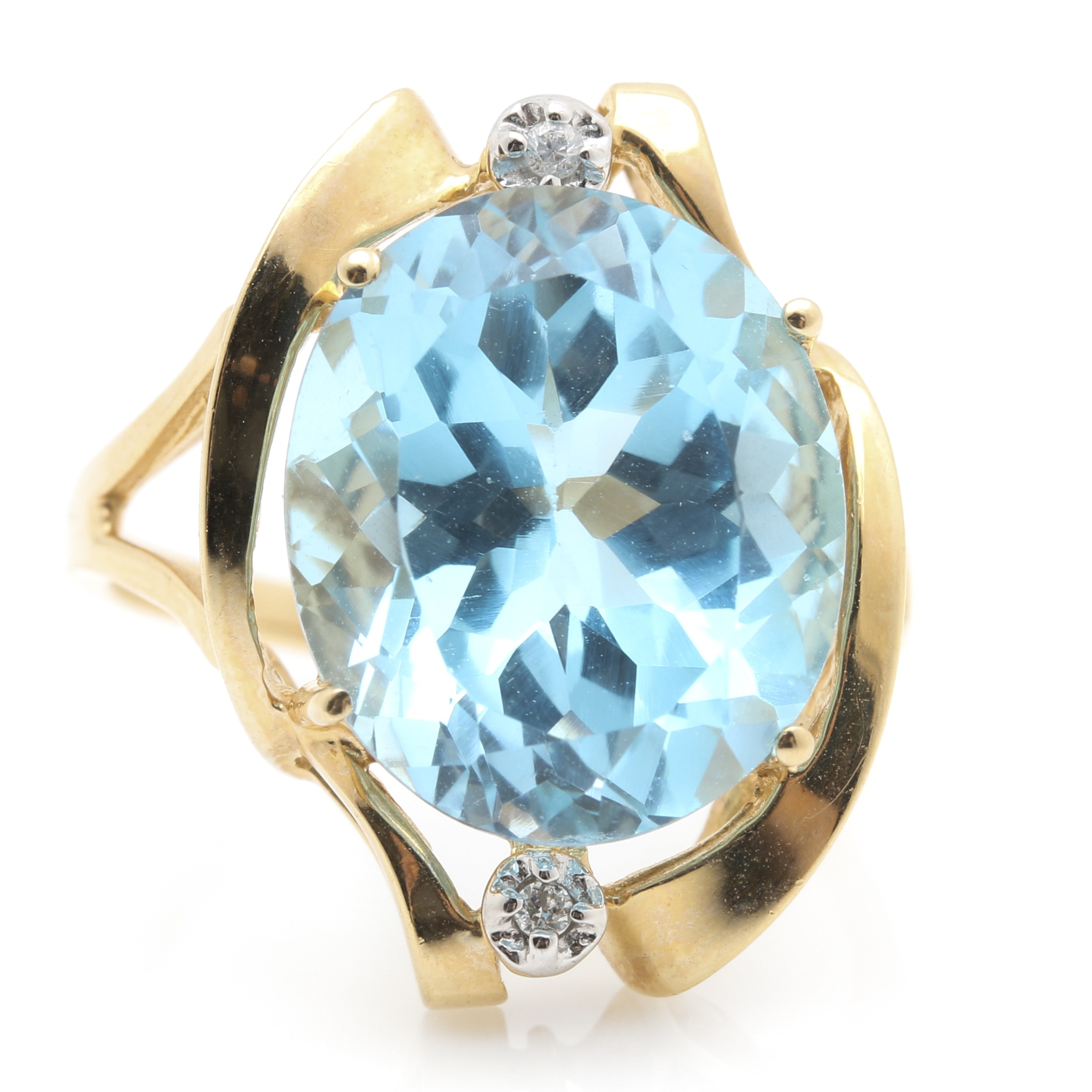 14K Yellow Gold 10.13 CT Blue Topaz and Diamond Ring