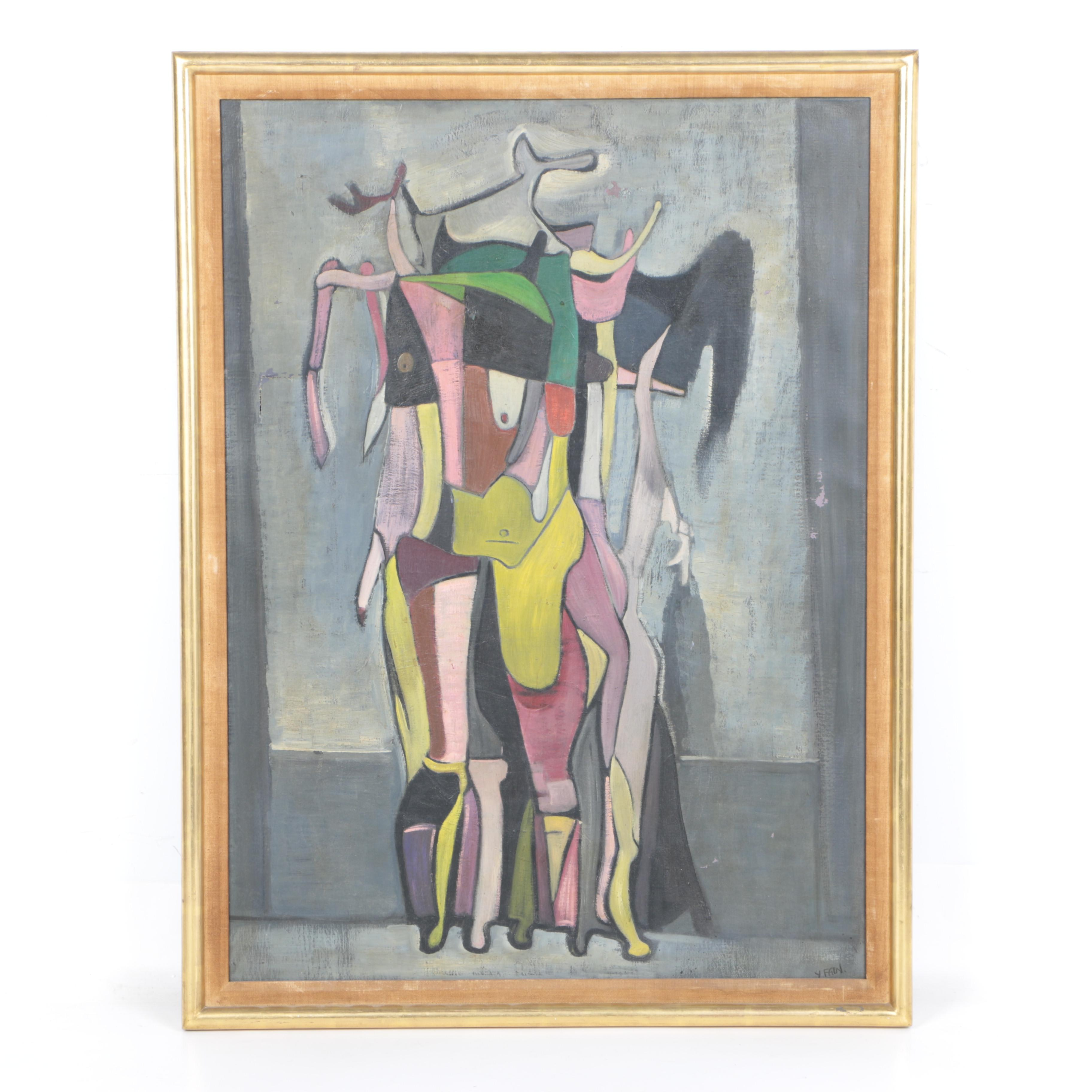 Yonia Fain Oil Painting on Canvas of Abstract Figures