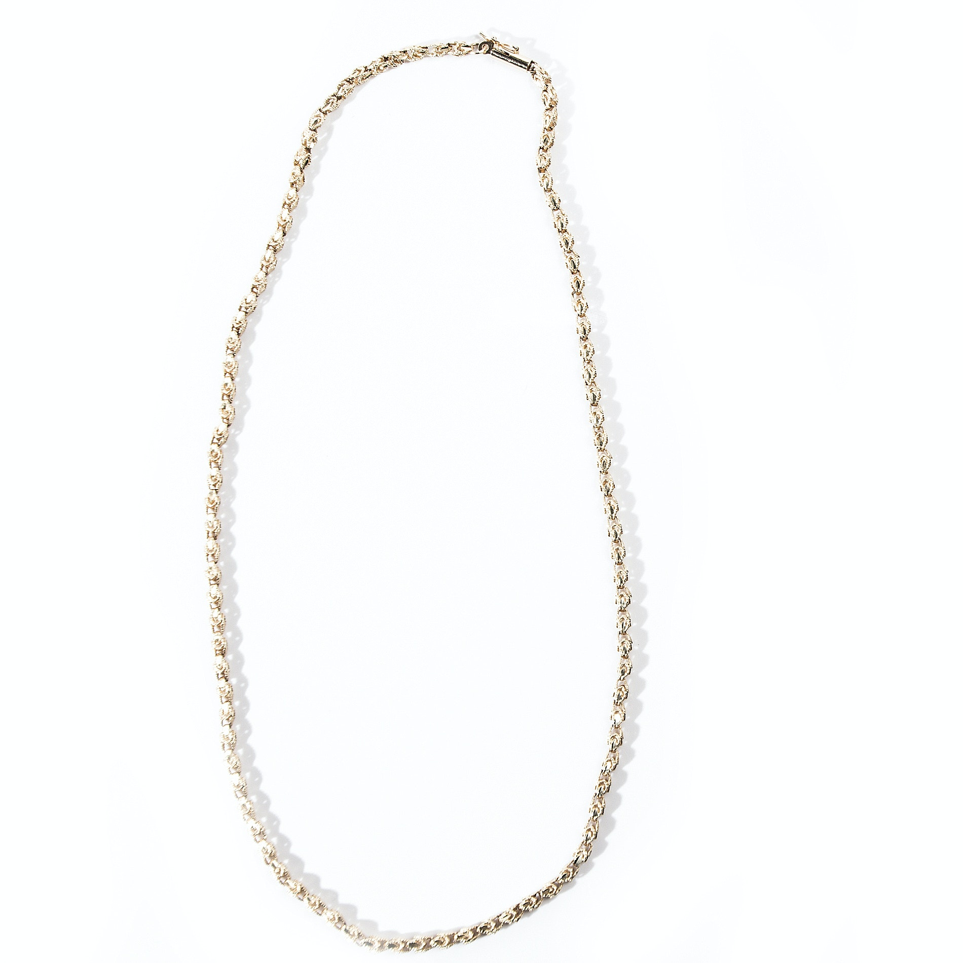 14K Yellow Gold Open Link Rope Chain Necklace