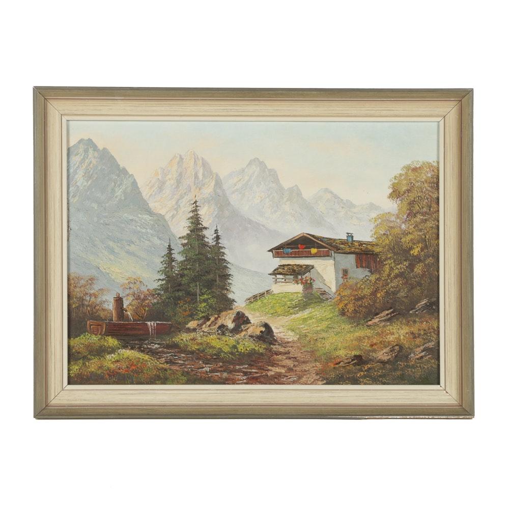 Leo Konig Oil Painting on Canvas Mountainous Landscape