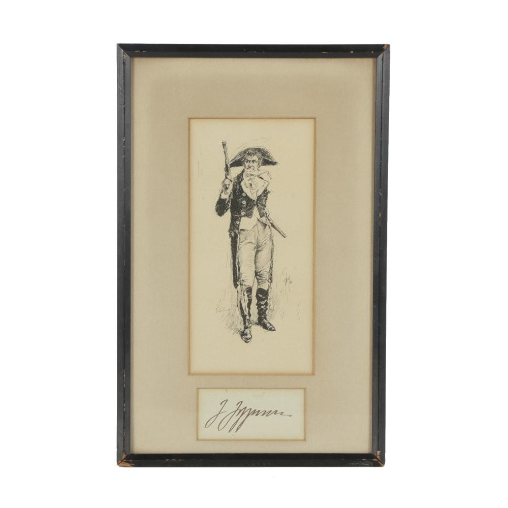"Robert Blum Etching on Paper ""Man with Gun"""
