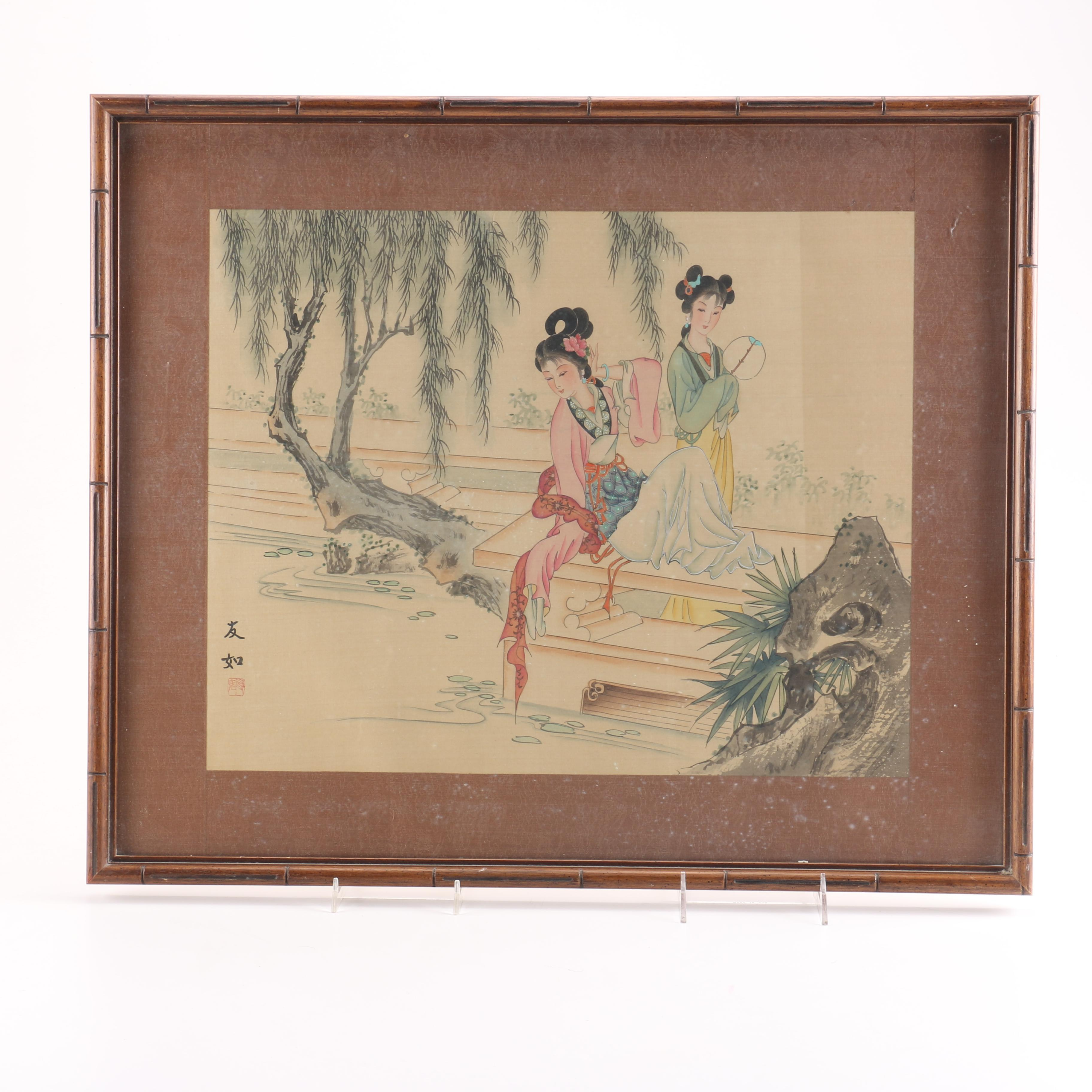 East Asian Style Watercolor and Gouache Painting on Silk of Women