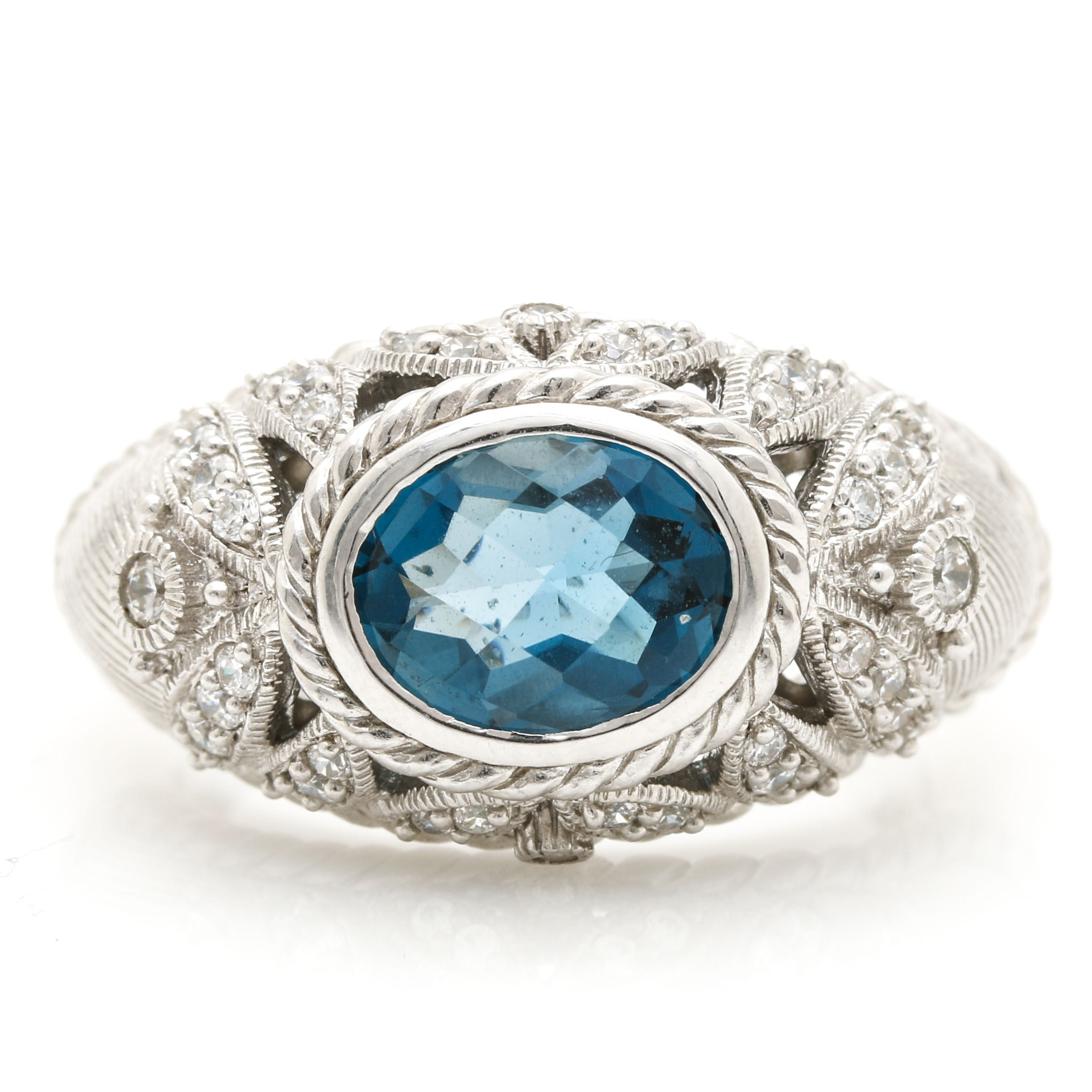 Judith Ripka Sterling Silver Blue Topaz and Cubic Zirconia Ring