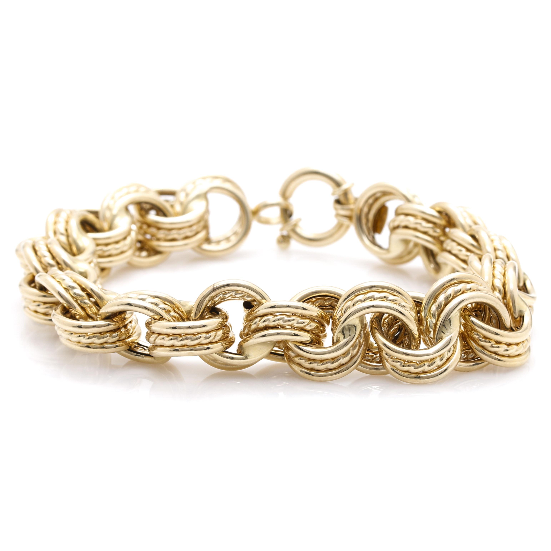 14K Yellow Gold Multi-Link Rolo Chain Bracelet