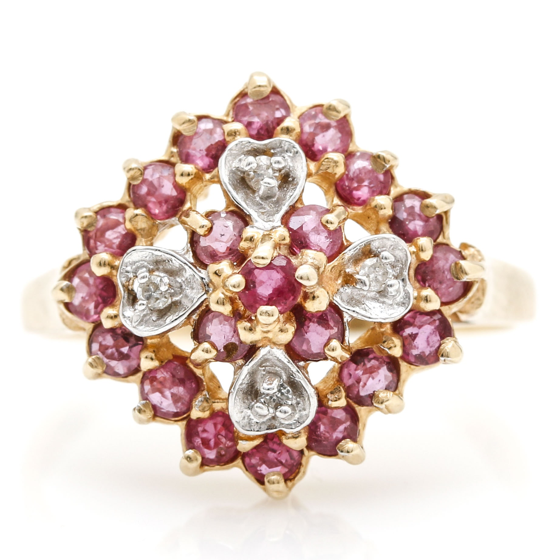 10K Yellow Gold Ruby and Diamond Openwork Cluster Ring