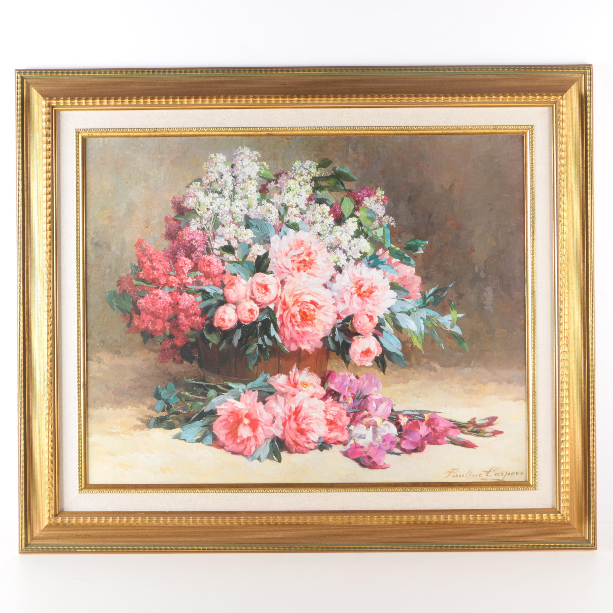 After Pauline Caspers Framed Offset Lithograph of Peony and Lilacs