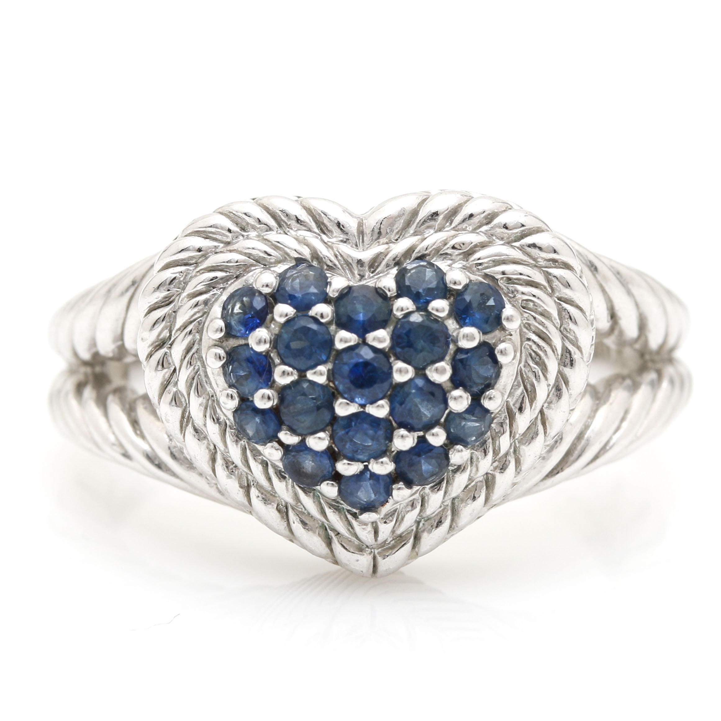 Judith Ripka Sterling Silver Sapphire Heart Ring