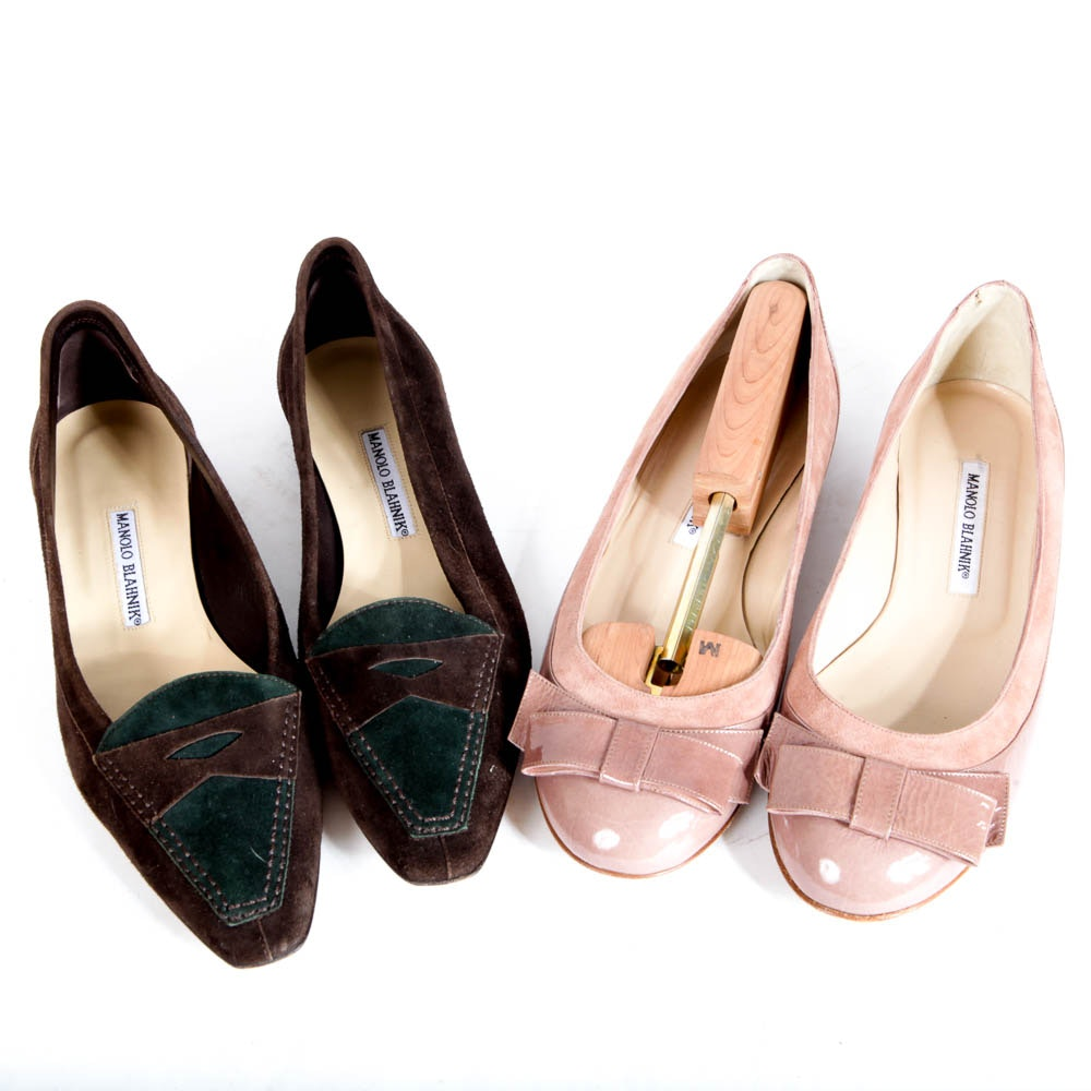 Two Pairs of Manolo Blahnik Flats