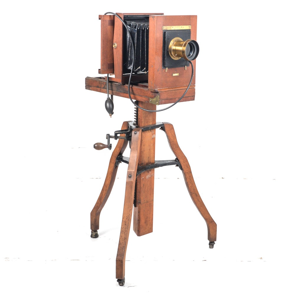 Antique Century Large Format View Camera with Bausch & Lomb Lens