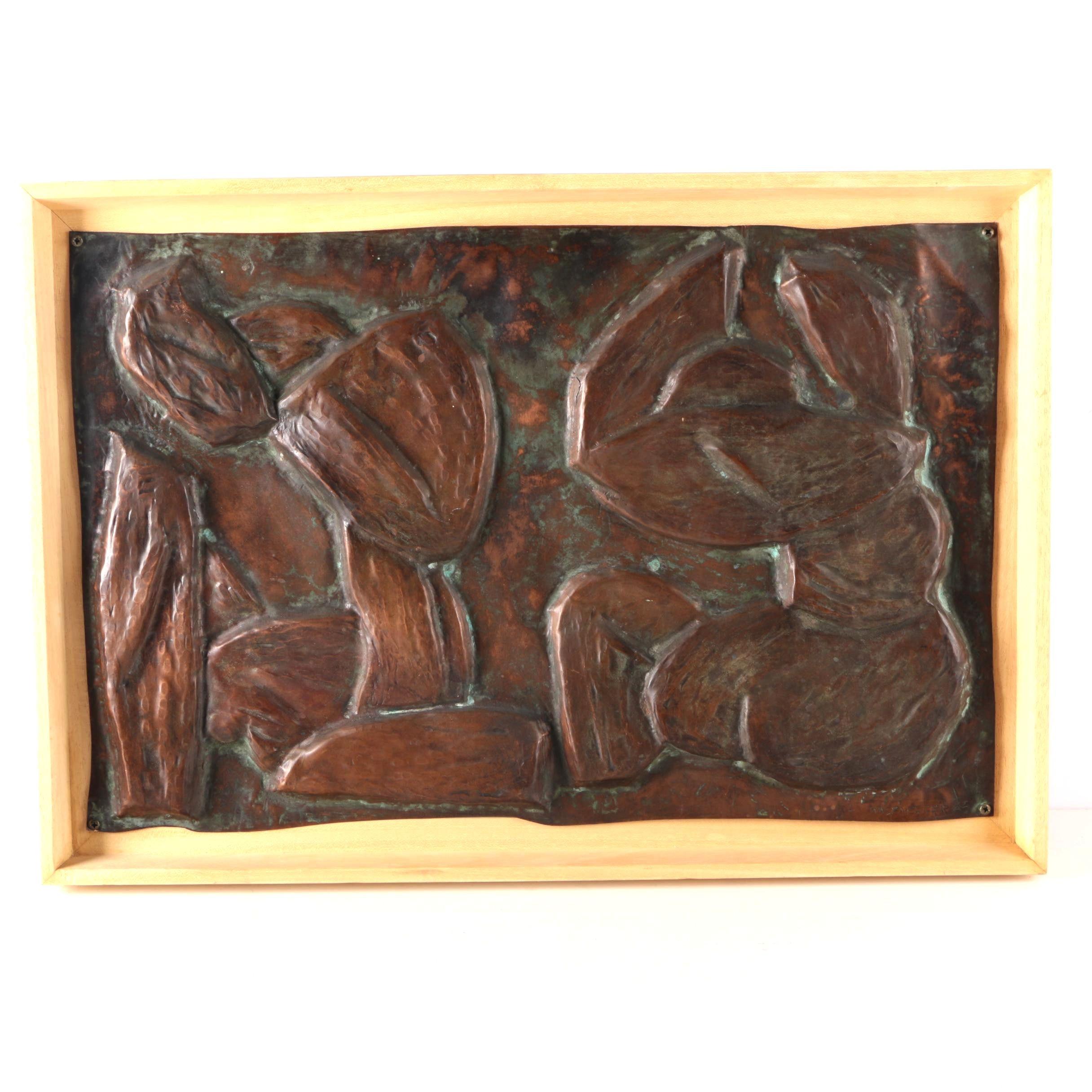 1967 Wazenegger Hammered Copper Relief