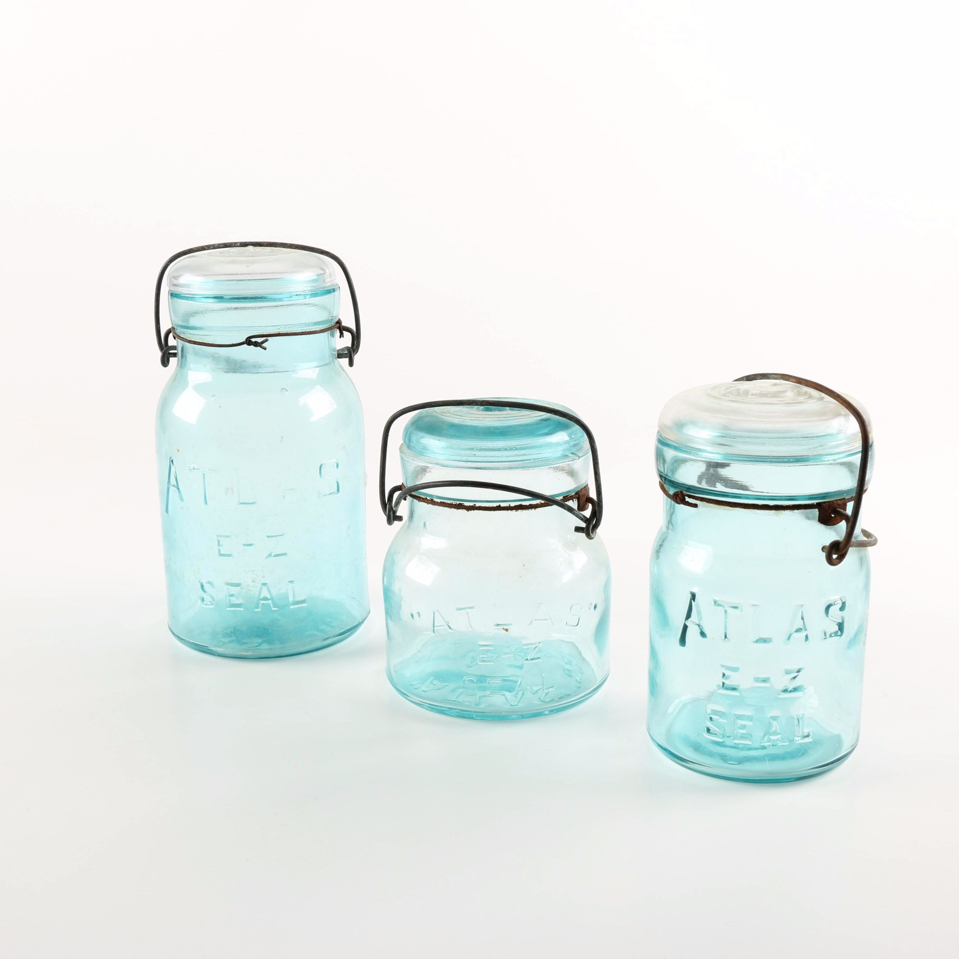 Blue Glass Atlas Jars