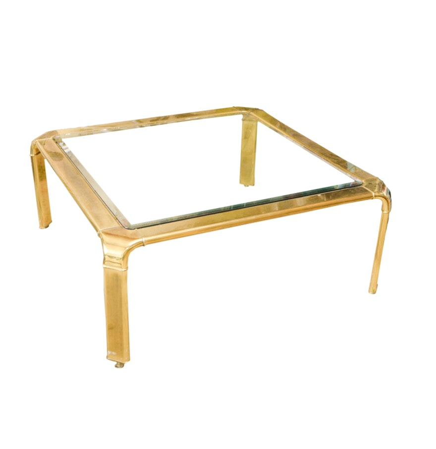 Mid century modern brass waterfall coffee table by john for Waterfall design coffee table