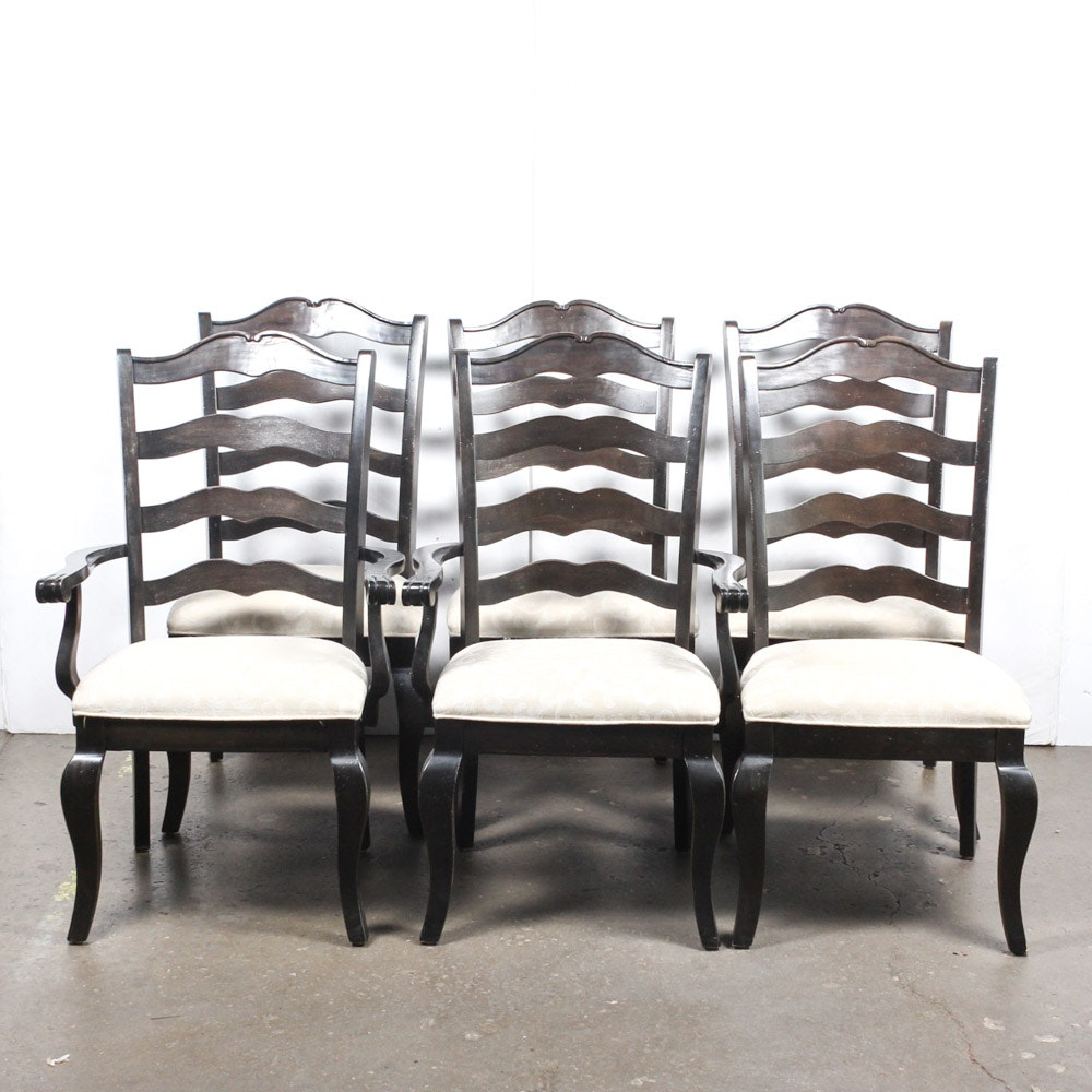 Kincaid Distressed Black Ladder Back Dining Chairs ...