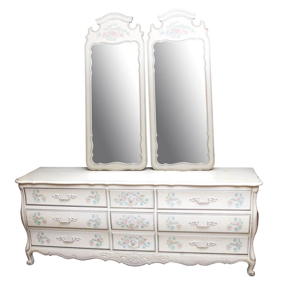 Thomasville Handpainted Dresser and Mirrors