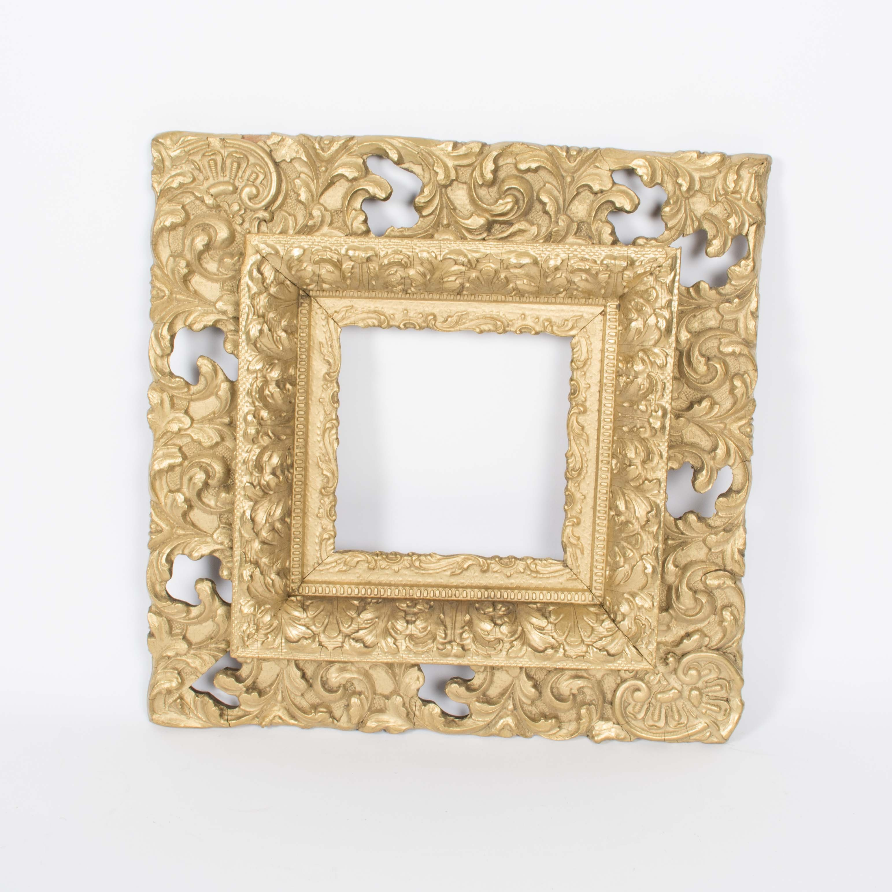 Antique Gold Tone Wood and Gesso Picture Frame