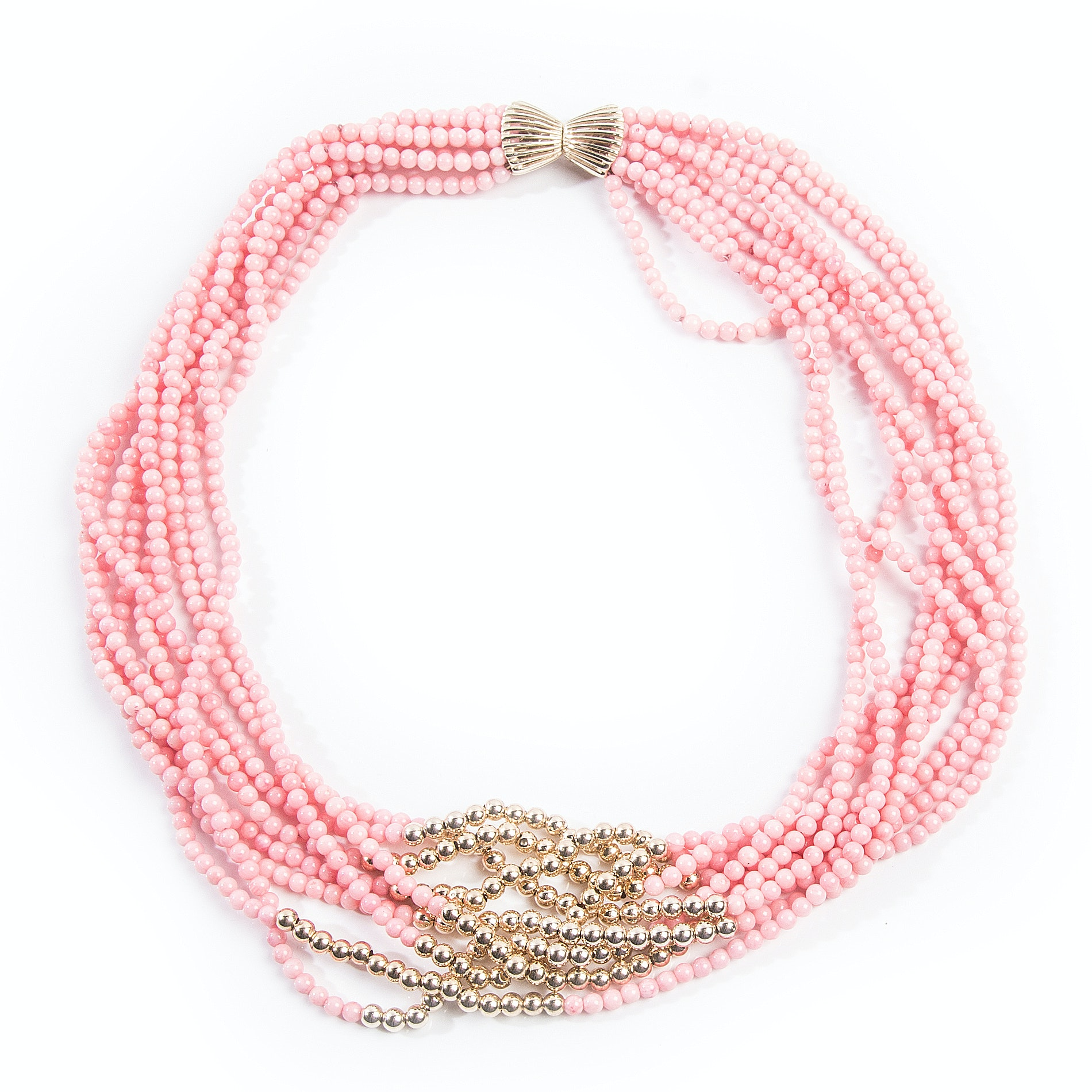 Nine Strand Coral and 14K Yellow Gold Bead Twisted Necklace