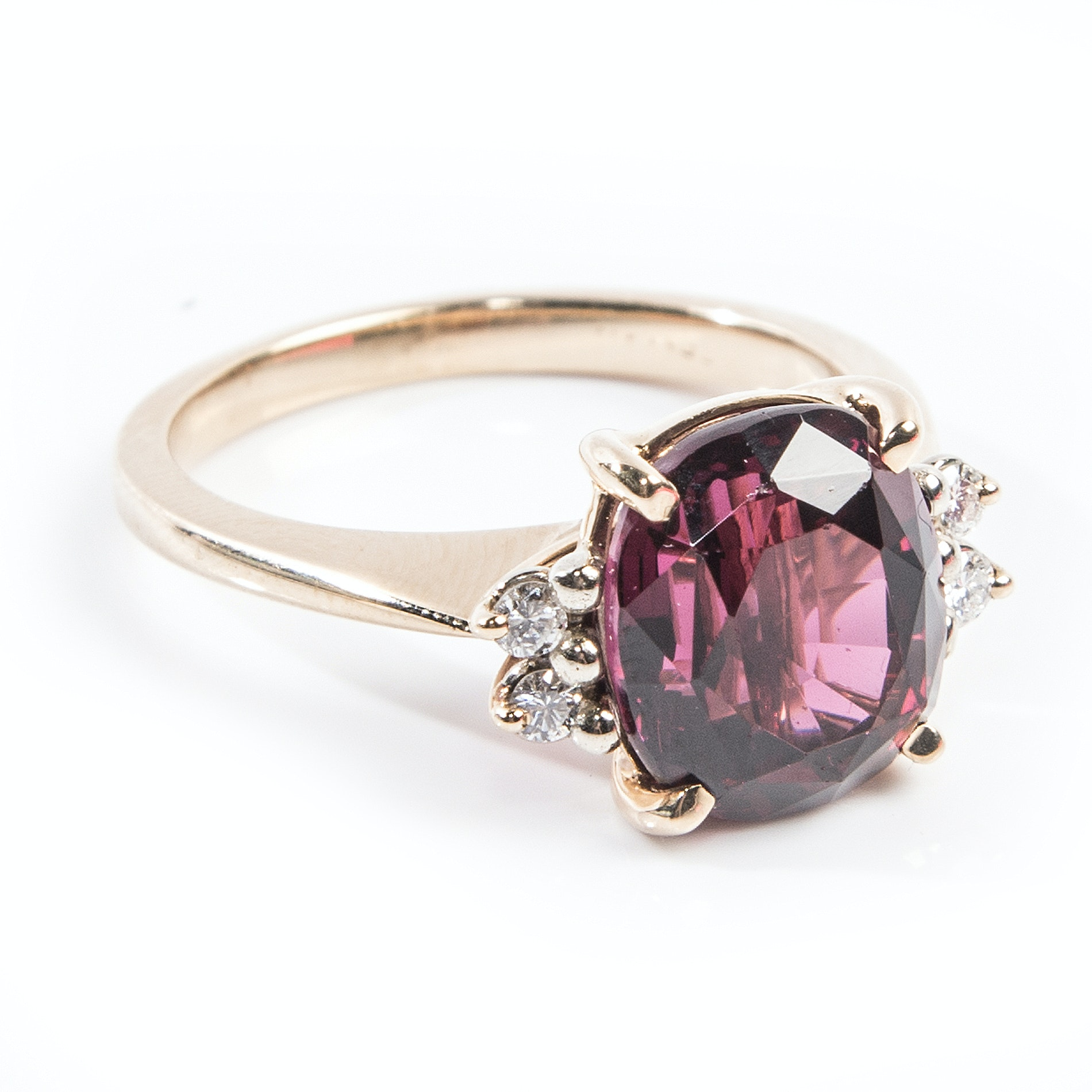 14K Yellow Gold 6.25 CTS Rhodolite Garnet and Diamond Ring