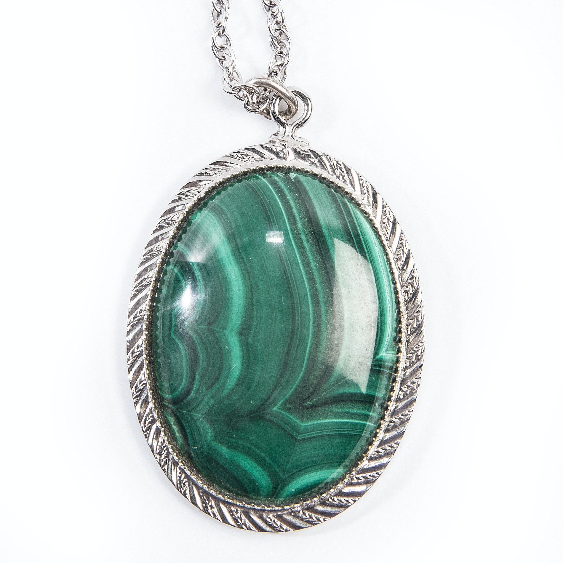 Sterling Silver Malachite Pendant Necklace