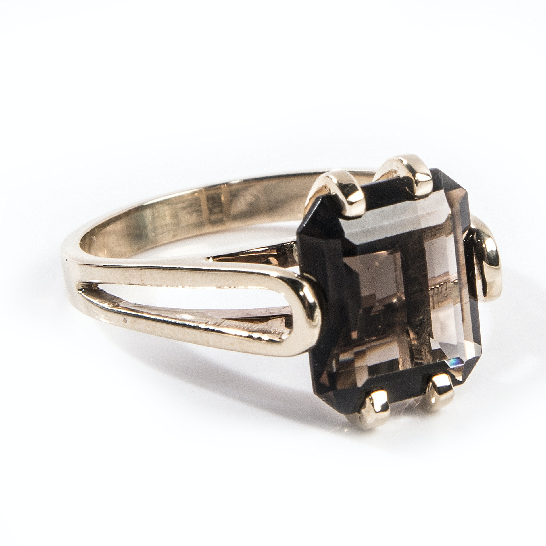 14K Yellow Gold 4.46 CTS Smoky Quartz Ring