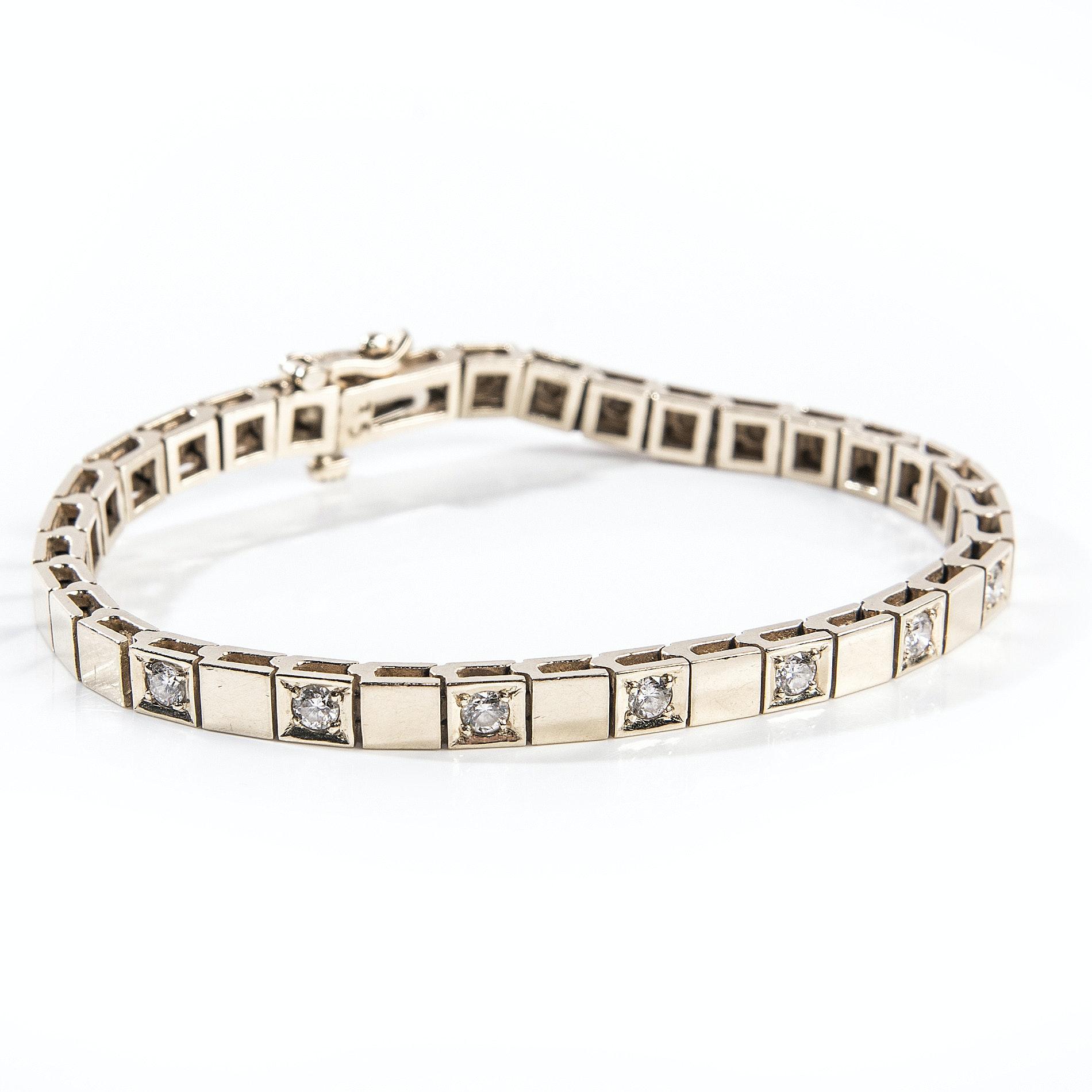 14K Yellow Gold Square -Link Diamond Bracelet