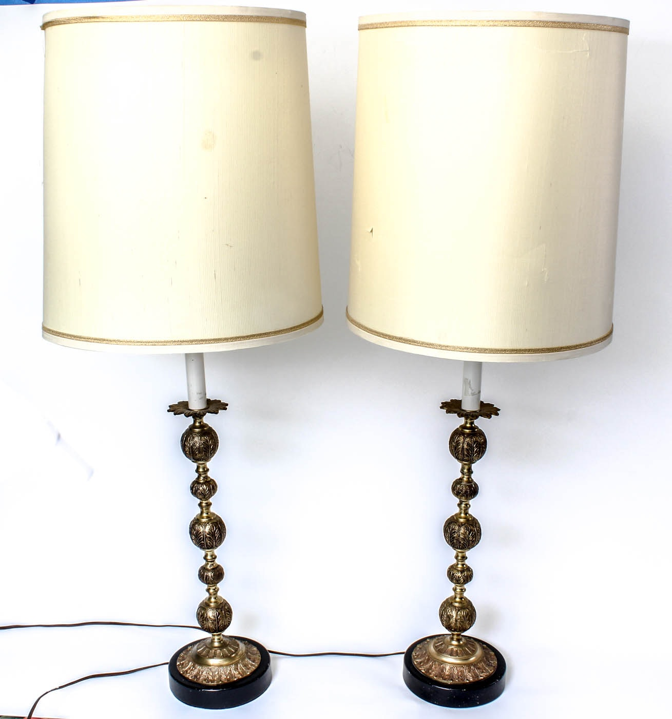 Pair of Vintage Ornate Brass Table Lamps