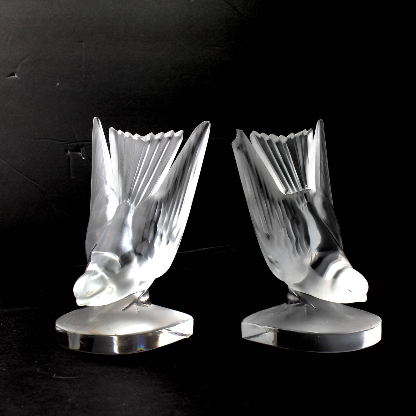 Pair of Vintage Signed Lalique Frosted Dove Bookends
