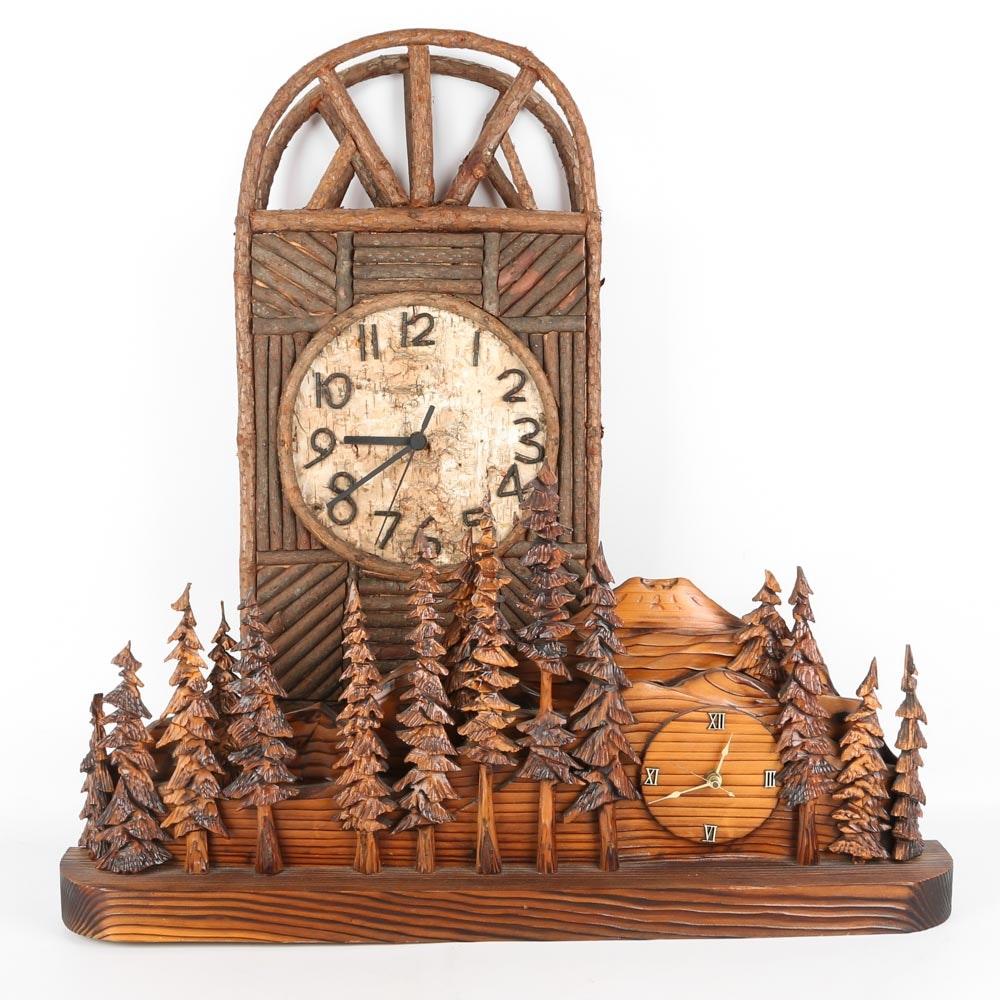 Adirondack Style Mantel Clocks