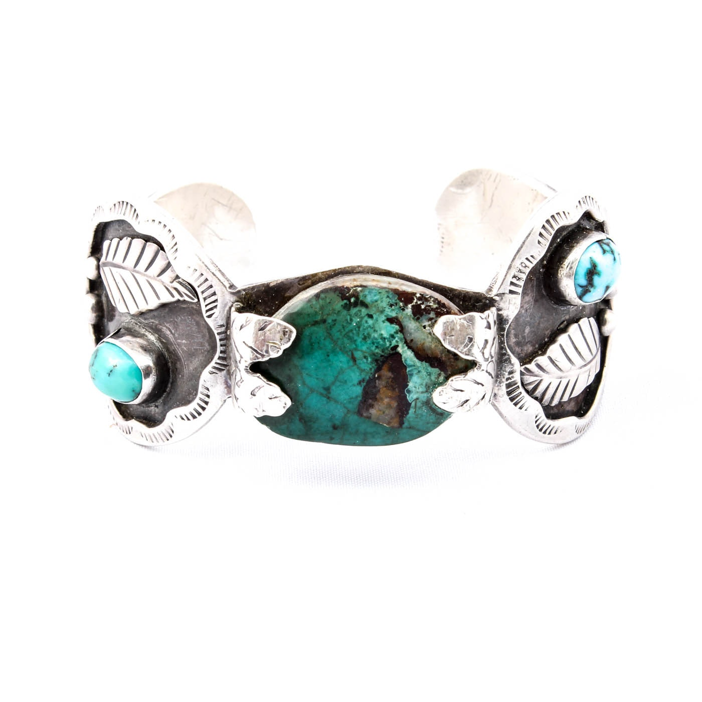 Southwestern Style Sterling and Turquoise Cuff Bracelet