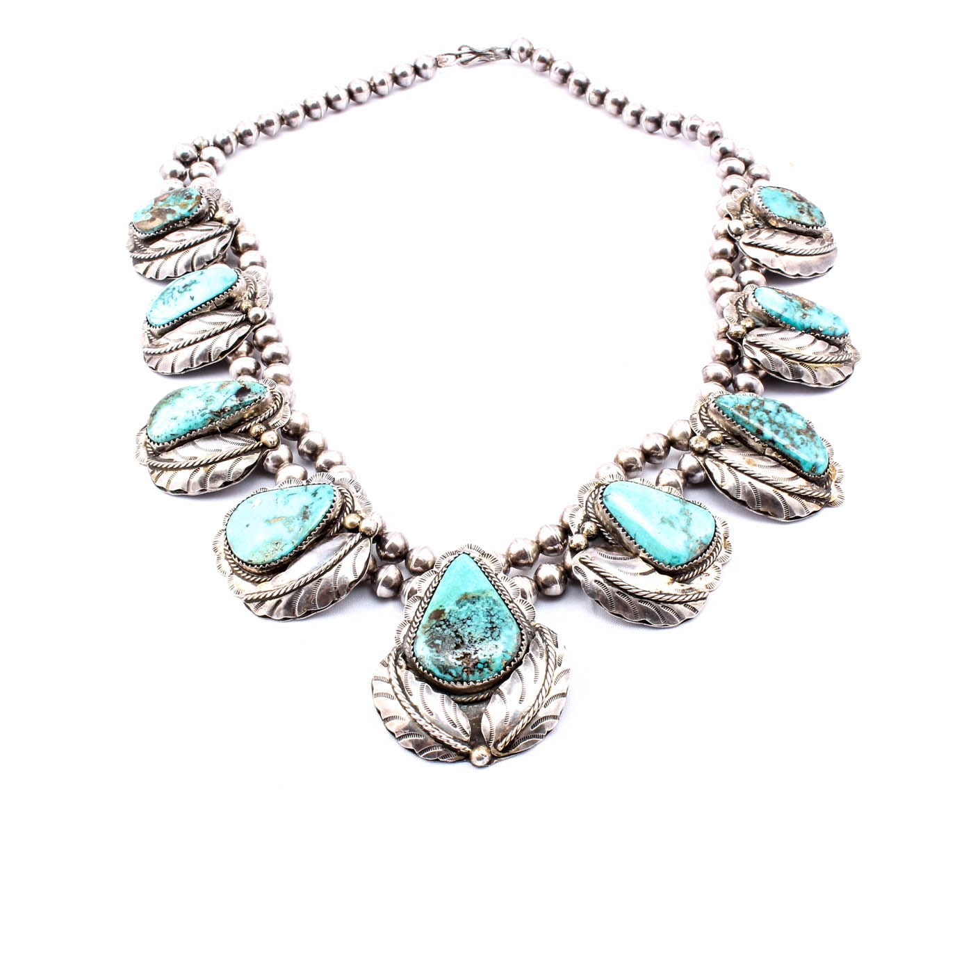 """Southwestern """"Old Pawn"""" Style Sterling and Turquoise Signed Necklace"""