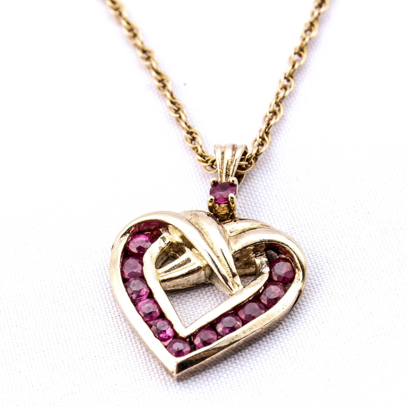 Sterling Silver Gold Plated Ruby Heart Pendant