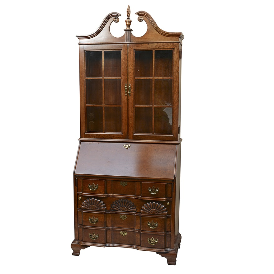 Queen Anne Style Cherry Secretary Desk By Jasper Cabinet