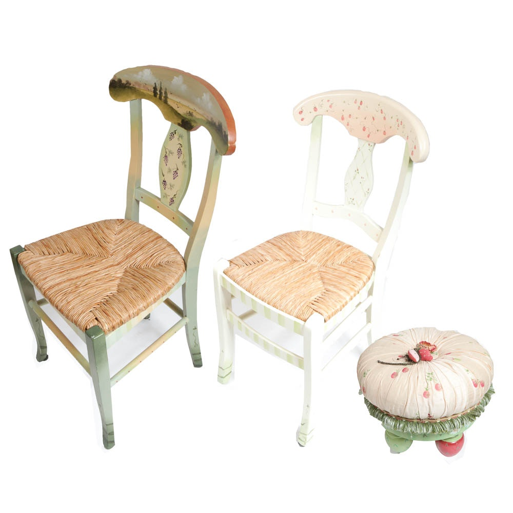 Painted Chairs and Ottoman