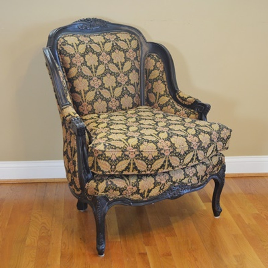 Fairfield Chair Co Black Wood Upholstered Bergere Ebth