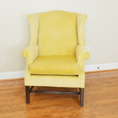 Ethan Allen Yellow Upholstered Wing Chair
