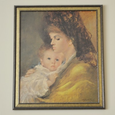 Framed Mother and Child Print on Board After A. Fenti Pini