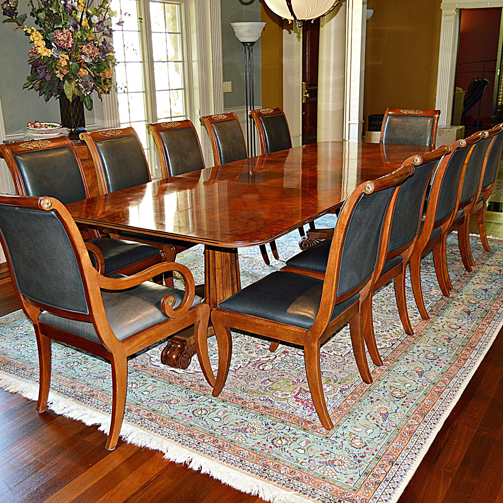 Magnificent Henredon Regency Style Dining Table and Twelve Chairs