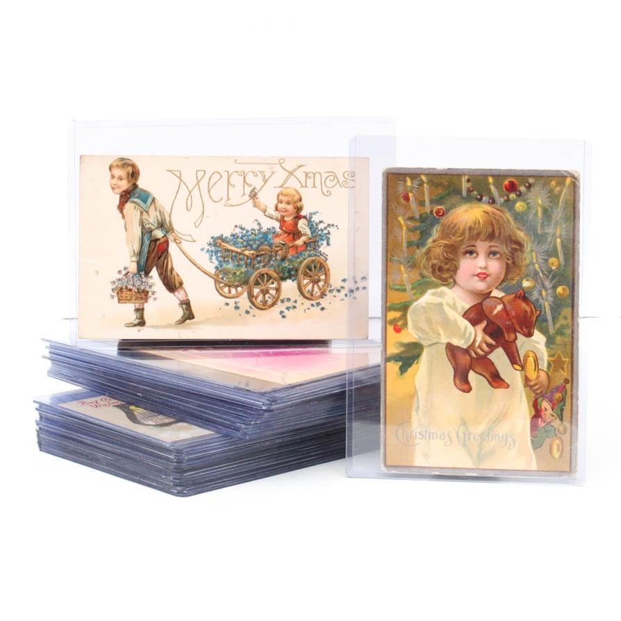 Antique Christmas Postcard Collection