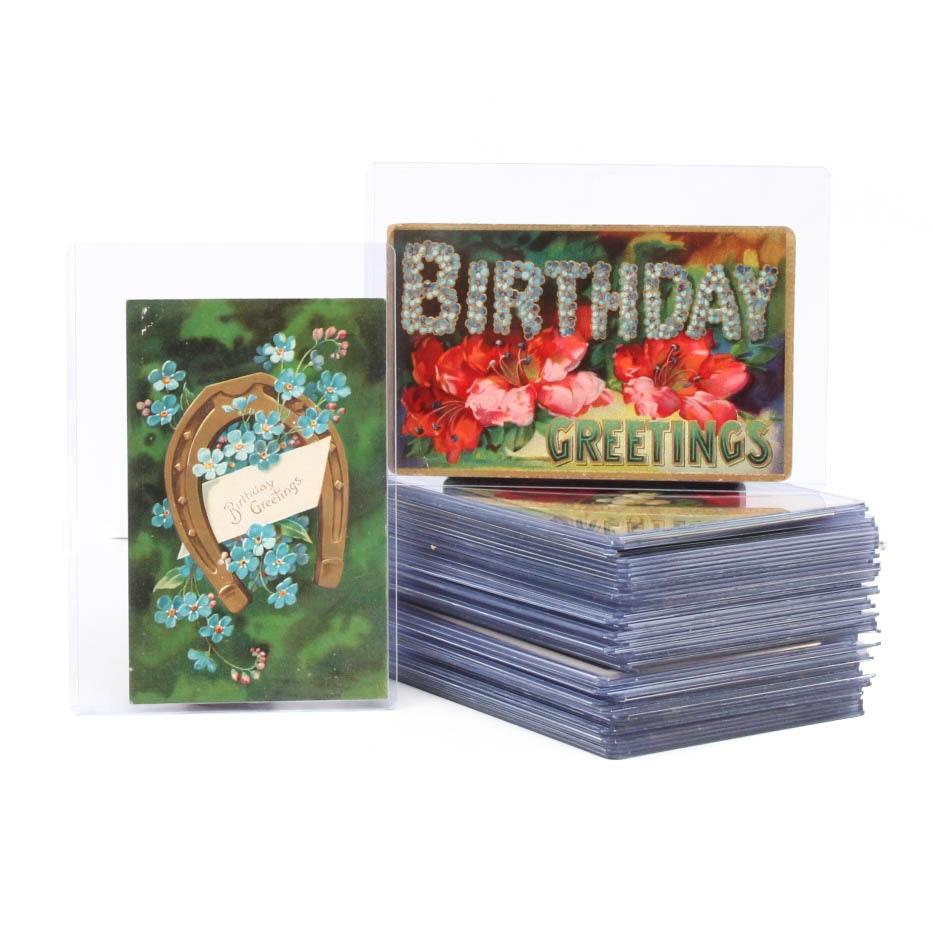Antique Birthday Postcard Collection