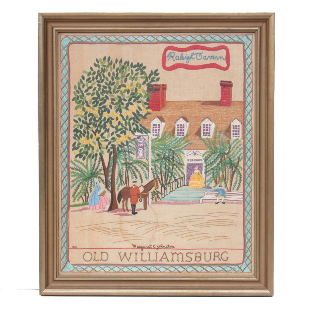 "Vintage Crewel Embroidery ""Old Williamsburg: Raleigh Tavern"""