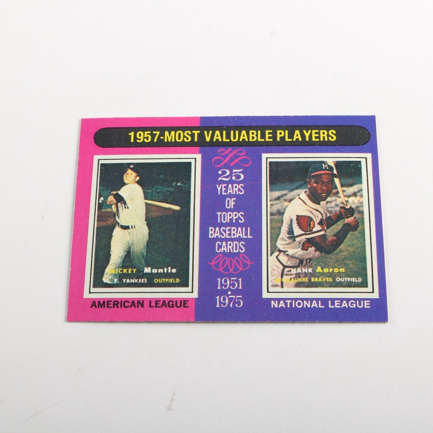 1975 Topps Most Valuable Players Mickey Mantle And Hank Aaron Baseball Card