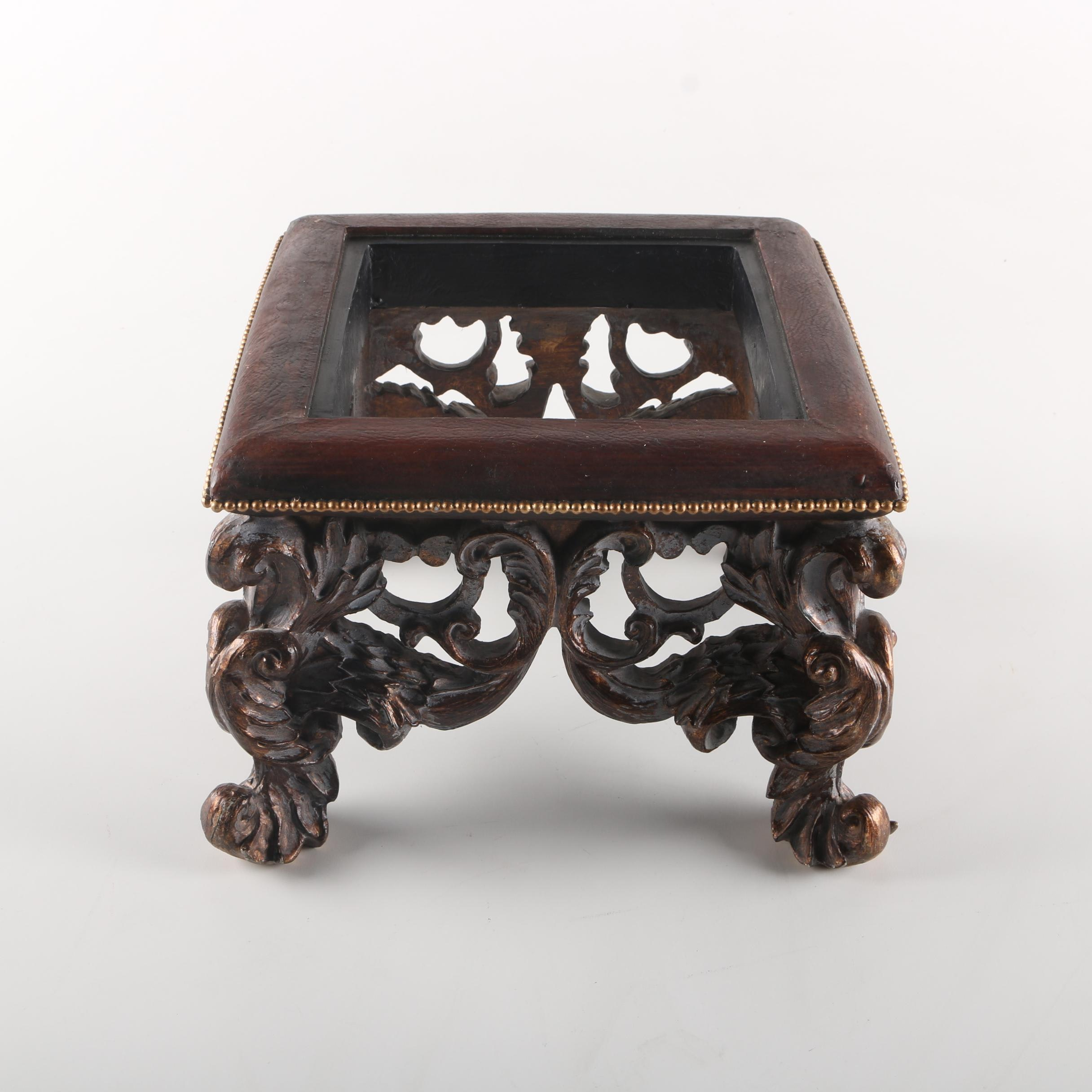 Small Ornate Wooden Stool