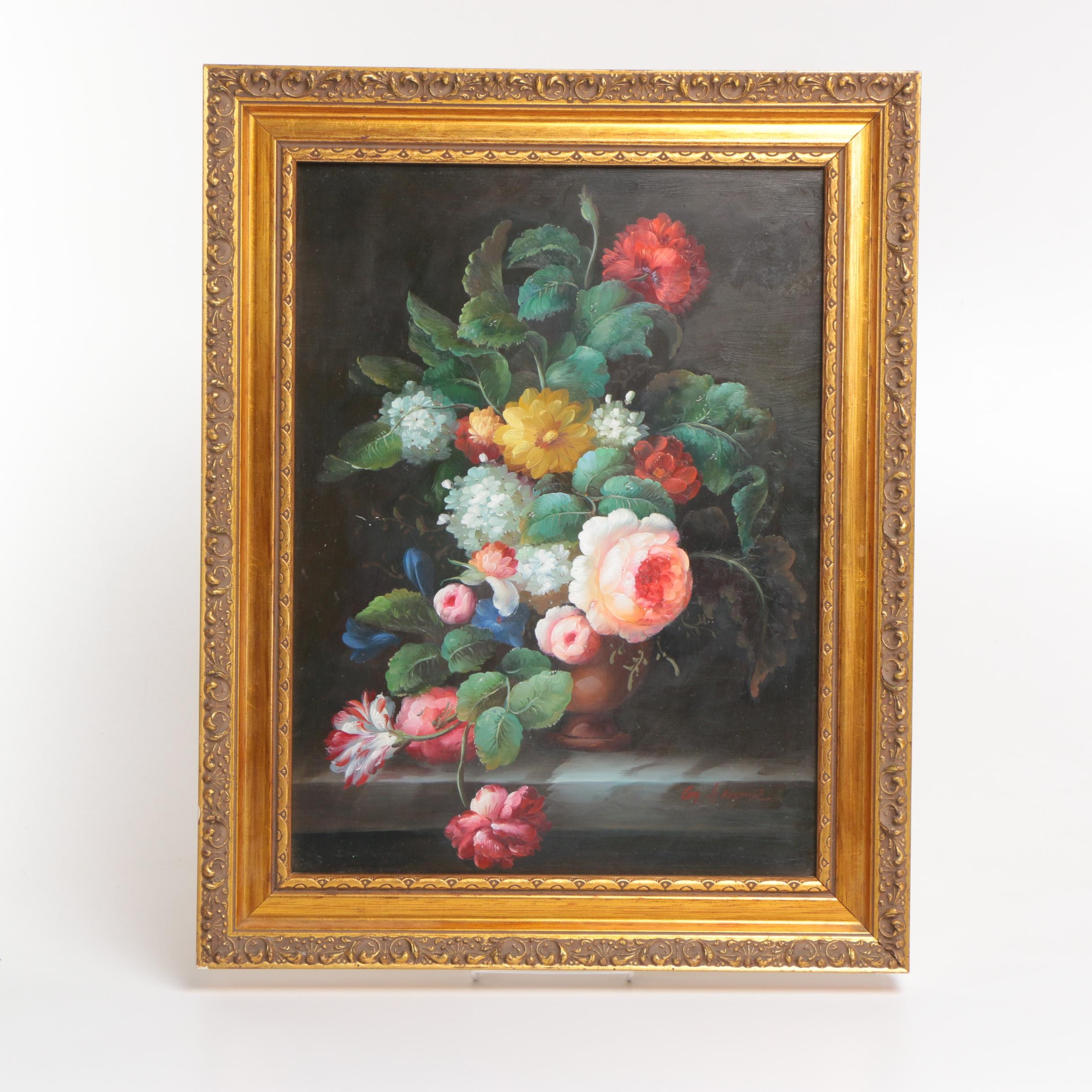 Oil on Canvas Board of a Floral Still Life