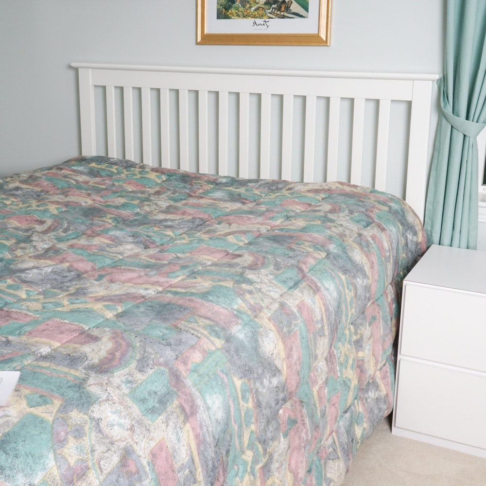 White-Painted Queen Size Slatted Headboard