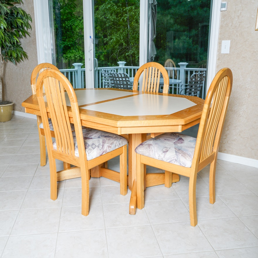 Hollywoods Oak Octagonal Dining Table And Chairs