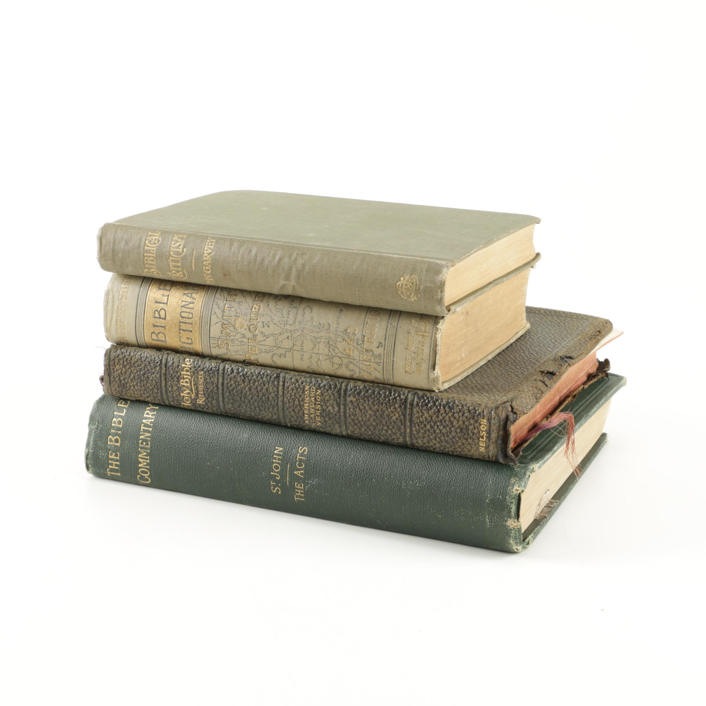 """Antique and Vintage Books Including """"A Dictionary of the Bible"""" With Color Maps"""