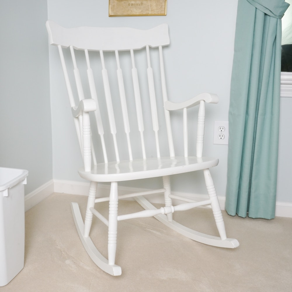 Painted White Spindle Rocking Chair