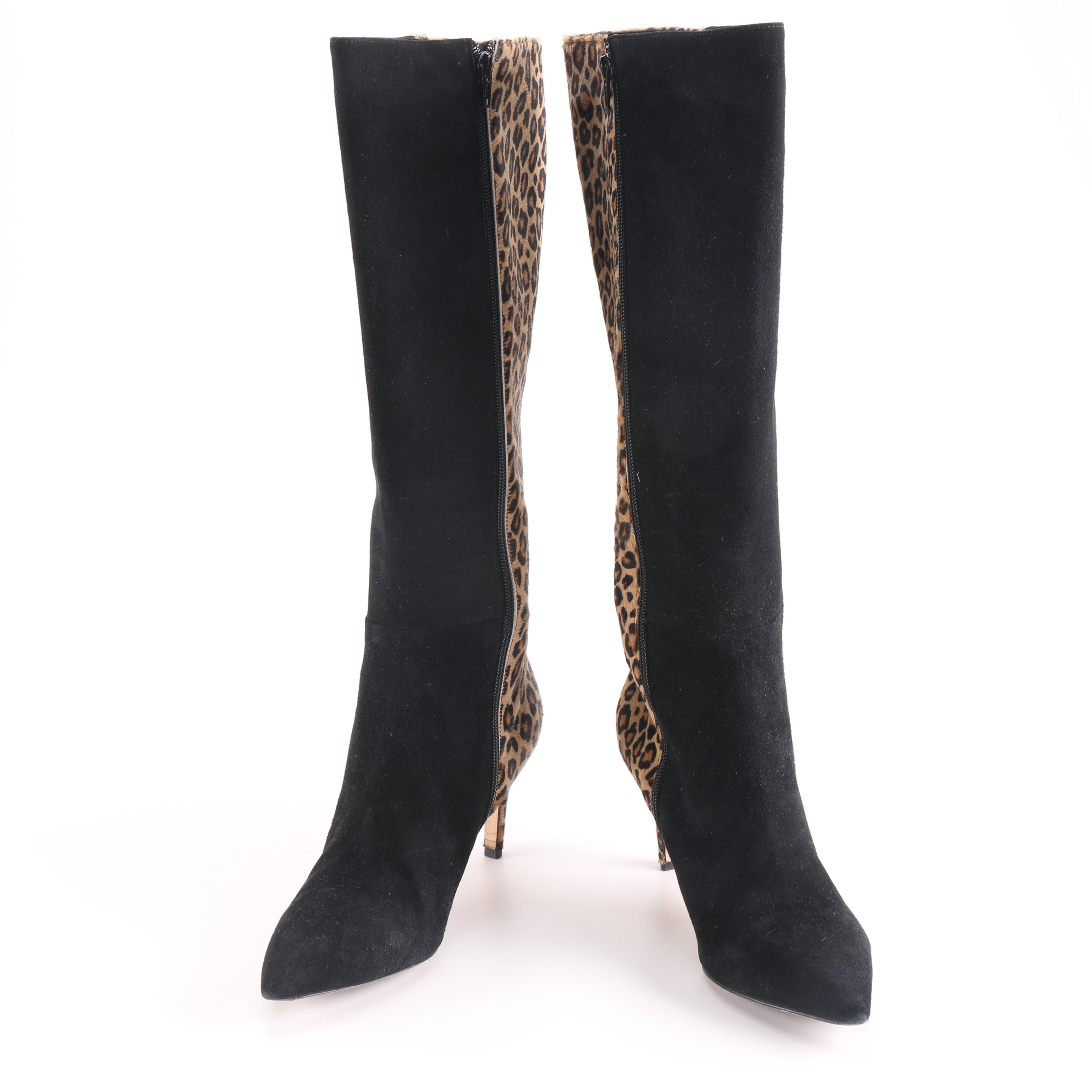 Pair of Bruno Ricci Calf Hair and Suede Knee High Boots